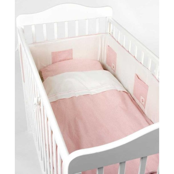 Sengerand lyserød babystrib