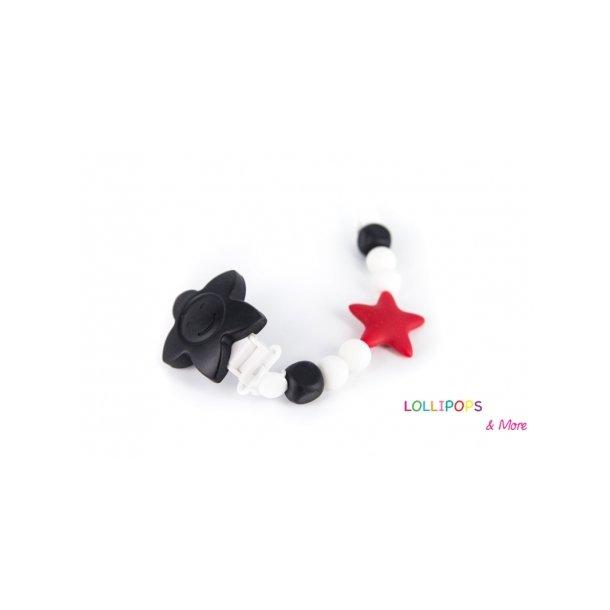 Lollipops Pacifier clips Tootsie Roll Stjerne Sort-Rød
